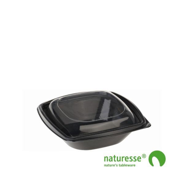 PLA Salatbæger Sort inkl. låg (12,6x12,6x8,7cm/480ml) - 40 stk pk