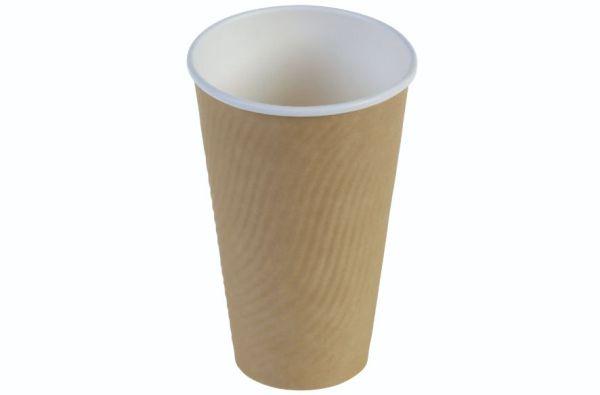 Kaffebæger riffel wall 4dl/16oz, Ø90mm, FV beige brun - 25 stk. pk
