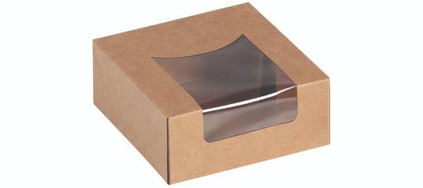 Sandwich/Kagebox Kraft m PLA vindue 120x120x50mm - 25 stk pk