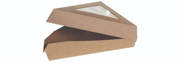 Karton/PLA kraft kage trekant, m PLA vindue 167x129x45mm, FSC MIX CREDIT - 50 stk pk