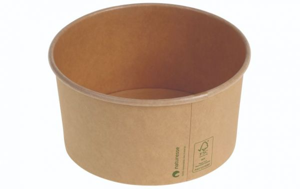 Karton/PLA / natur, Salat bæger Ø150x78mm, 1.000ml - 50 stk pk