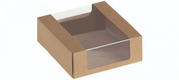 Food Box with window, Kraft/PLA, 110x110x40 mm - 25 stk pk