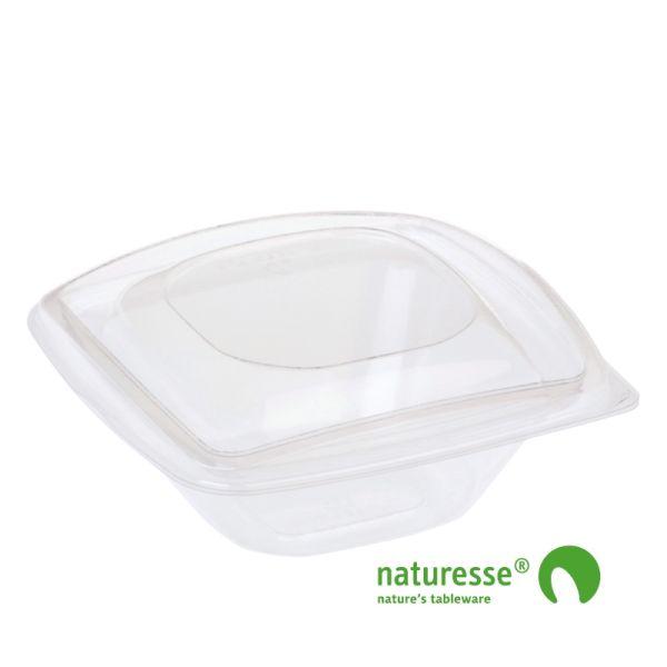 PLA Salatbæger m/Låg (12,6x12,6x5,5cm/240ml) - 40 stk pk