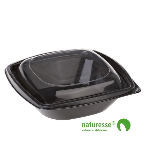 PLA Salatbæger Sort m/Låg (19,2x19,2x6,5cm/720ml) - 50 stk pk