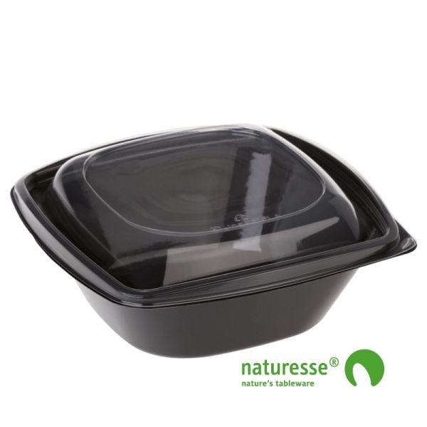 PLA Salatbæger Sort m/Låg (19,2x19,2x7,8cm/960ml) - 50 stk pk